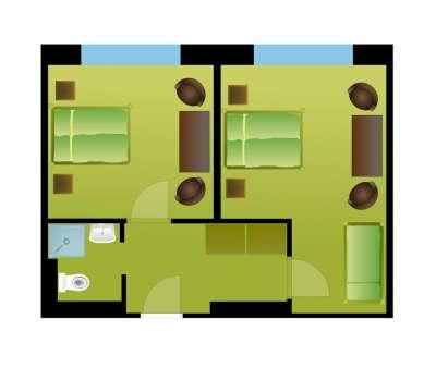 Čtyřlůžkový pokoj s vlastním sociálním zařízením
